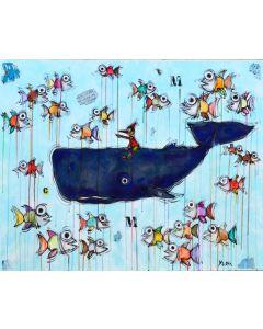 Yux, Missione Mare, acrilico, pastelli a cera e manifesti su tela, 100x80 cm
