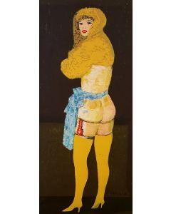 Salvatore Fiume, Modella con calze gialle, serigrafia pastellata su tela, 38x80 cm