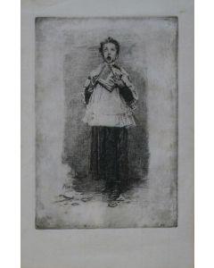 Mosè Bianchi, Chierico, acquaforte e acquatinta, 13,6x20 cm