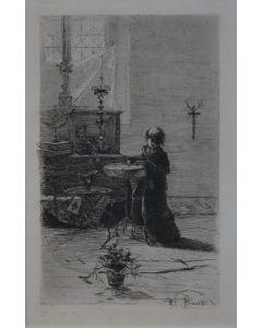 Mosè Bianchi, Enfant de Choeur en Italie, acquaforte e acquatinta, 22,5x14,6 cm