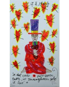 Francesco Musante, Se dal cielo piovessero cuori, serigrafia materica, 17x10 cm