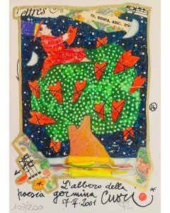 Francesco Musante, L'albero della Poesia, serigrafia materica, 12x17 cm