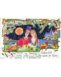 Francesco Musante, Noi due, io e te, un tramonto d'arancia, serigrafia materica, 30x20 cm