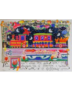 Francesco Musante, Prenderò l'ultimo treno della sera, serigrafia materica, 35x25 cm