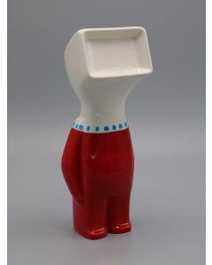 Fè, Myselfie. Homo Monitor Bon ton,  scultura in ceramica dipinta a mano, h 25 cm