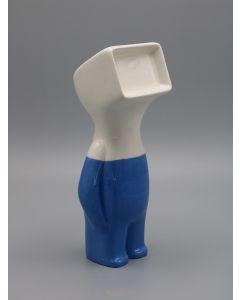 Fè, Myselfie. Homo Monitor Smurf,  scultura in ceramica dipinta a mano, h 25 cm
