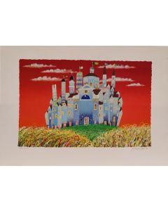 Meloniski da Villacidro, Piccola città (rosso), retouché, 50x70 cm