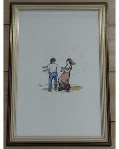 Renato Natali, Danza in spiaggia, litografia a colori, 33x50 cm