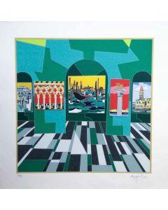 Ugo Nespolo, Venezia, serigrafia polimaterica, 70x70 cm