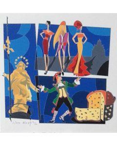 Ugo Nespolo, serigrafia tratta dalla cartella Milan l'è un gran Milan, 32,5x33 cm