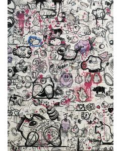 Nik Baeyens, Senza Titolo, acrilico, spray, resina, marker su stampa su tela, 70x100 cm