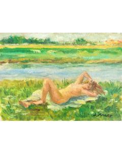 Daniela Penco, Nudo, olio su cartone telato, 13 x 18 cm