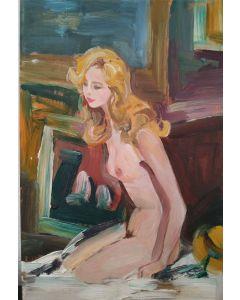 Scuola Francese, Nudo, olio su tavola, 19x12.5cm