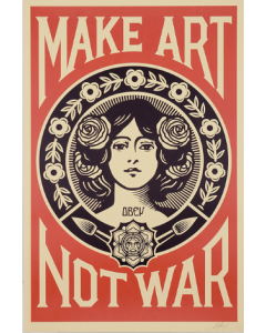 Obey (Shepard Fairey), Make art not war, serigrafia, 90x61 cm