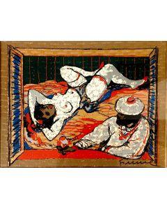 Salvatore Fiume, Odalisca, serigrafia su broccato, 44x35,5 cm