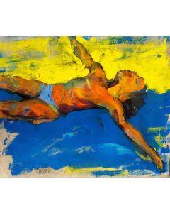 Claudio Malacarne, Swimmer 2, olio su carta, 50x40 cm