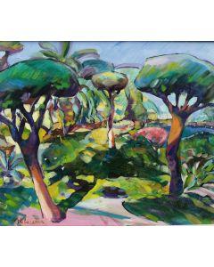 Claudio Malacarne, Giardino fantastico, olio su tela, 60x50 cm