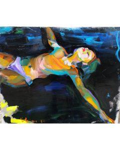 Claudio Malacarne, Swimmer 1, olio su carta, 50x40 cm