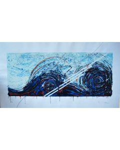 Mario Schifano, Onda neonata, serigrafia su carta, 70x120 cm