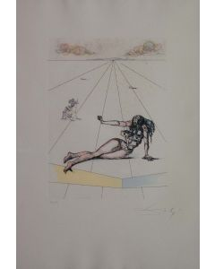 Salvador Dalì, Paesaggio Surrealista, Acquaforte, acquatinta, 70x50cm