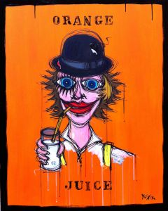 Yux, Orange Juice, acrilico pastelli a cera, smalto e manifesti su tela, 80x100 cm