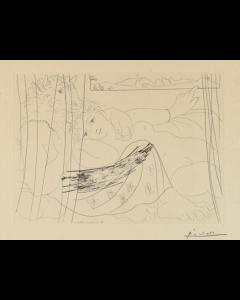 Pablo Picasso, Minotaure et femme derrière un Rideau, tratto dalla Suite Vollard, Incisione, 39x50 cm (immagine 19,3x26,7 cm)
