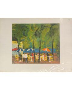 Paesaggio con ombrelloni, litografia, 90x70 cm