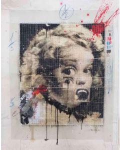 Enrico Pambianchi, Riccioli d'oro, collage, olio, acrilico, matite, gessetti, resine su cartone d'arazzo, 100x120 cm