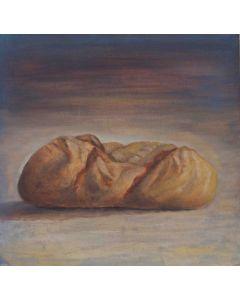 Andrea Ferrari Bordogna, Pane della domenica, olio su carta intelata, 54x54 cm