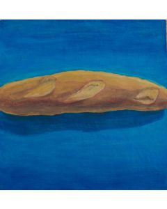 Andrea Ferrari Bordogna, Pane sul blu, olio su carta intelata, 54x54 cm