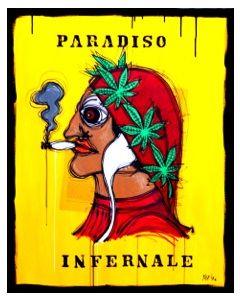 Yux, Paradiso Infernale, acrilico pastelli a cera, smalto e manifesti su tela, 80x100 cm