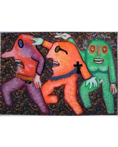 Enrico Baj, Parata, serigrafia a colori e collage, 98x69 cm, 1979
