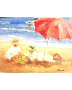 Daniela Penco,Sotto l'ombrellone, olio su cartone telato, 18 x 24 cm