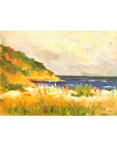 Daniela Penco,La costiera, olio su cartone telato, 18 x 24 cm