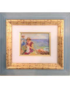 Daniela Penco, Giornata al mare, olio su cartone telato, 9x12cm (25x28 cm con cornice)