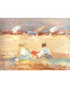 Daniela Penco, Sulla spiaggia, olio su tela, 18x24 cm