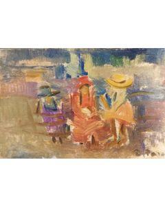 Daniela Penco, Amiche, olio su cartone telato, 10 x 15 cm