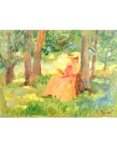 Daniela Penco, Nel bosco, olio su tela, 18x24 cm