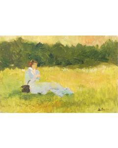 Daniela Penco,Senza titolo, olio su cartone telato, 10 x 15 cm