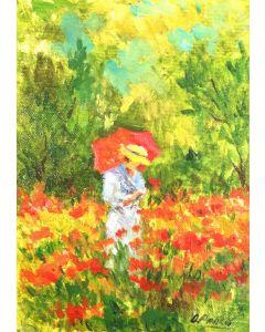 Daniela Penco, All'ombra del giardino, olio su cartone telato, 18x13 cm