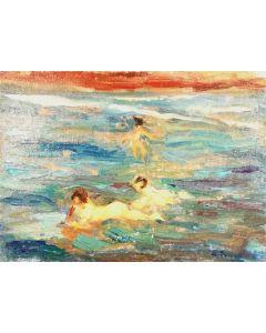 Daniela Penco, In mezzo al mare, olio su cartone telato, 15x20 cm