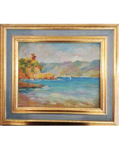 Daniela Penco, Paesaggio marittimo, olio su cartone telato, 24x30 cm (38x44 cm con cornice)