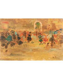 Daniela Penco, Il ballo, olio su cartone telato, 10 x 15 cm