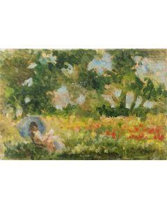 Daniela Penco, Leggendo in giardino, olio su cartone telato, 10 x 15 cm