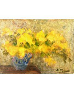 Daniela Penco, Vaso di garofani, olio su cartone telato, 18x13 cm