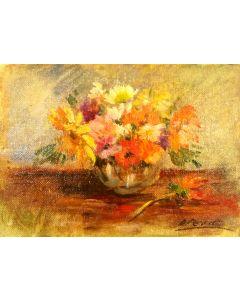 Daniela Penco, Vaso di fiori, olio su cartone telato, 18x13 cm