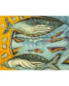 Cannaò, Pesca, olio su tela (Trittico mobile), 24x90 cm (ogni tela), 2012