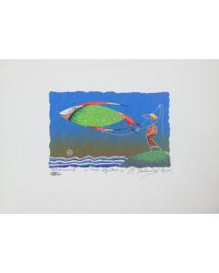 Meloniski da Villacidro, Pesce Aquilone, serigrafia e collage ritoccata a mano, 25x35 cm