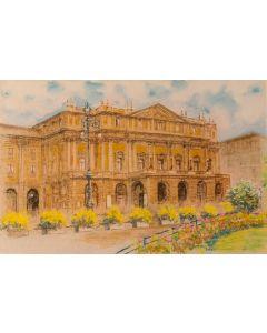 Natale Addamiano, Piazza della Scala , litografia, 33x50 cm