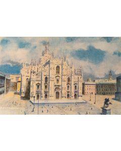 Natale Addamiano, Piazza Duomo, Litografia, 32.5x50 cm